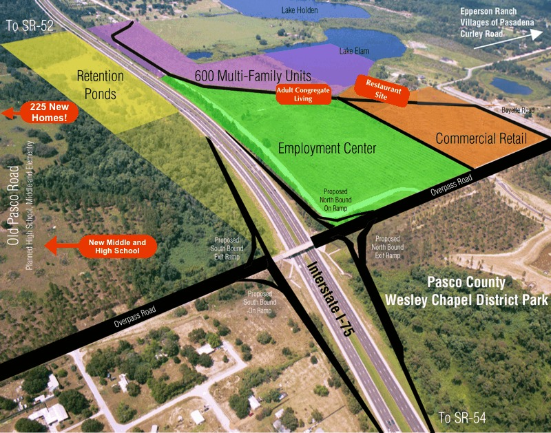 Aerial view of the Wildcat Groves property with overlays of potential uses